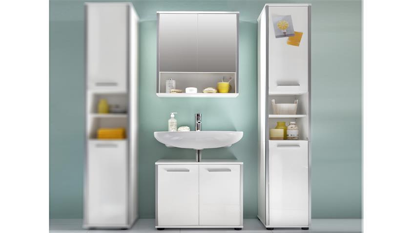 Badezimmer Set 2 TRISTO in weiß Melamin Hochglanz