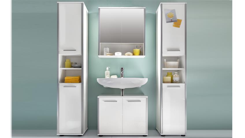 Badezimmer Set 3 TRISTO in weiß Melamin Hochglanz
