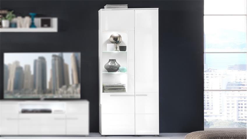 Standvitrine VISION in weiß Hochglanz tiefzieh inkl. LED