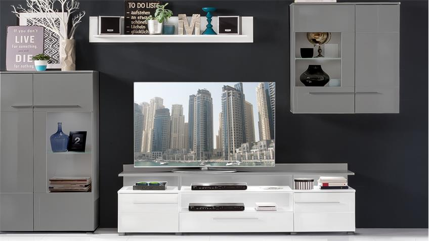 tv lowboard 1 vision wei hochglanz tiefzieh mit wandboard. Black Bedroom Furniture Sets. Home Design Ideas