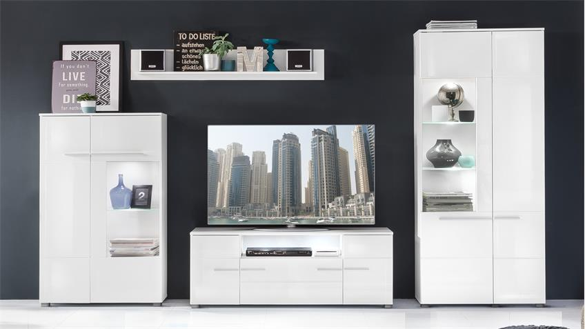 Wohnwand 1 VISION Anbauwand weiß Hochglanz mit LED