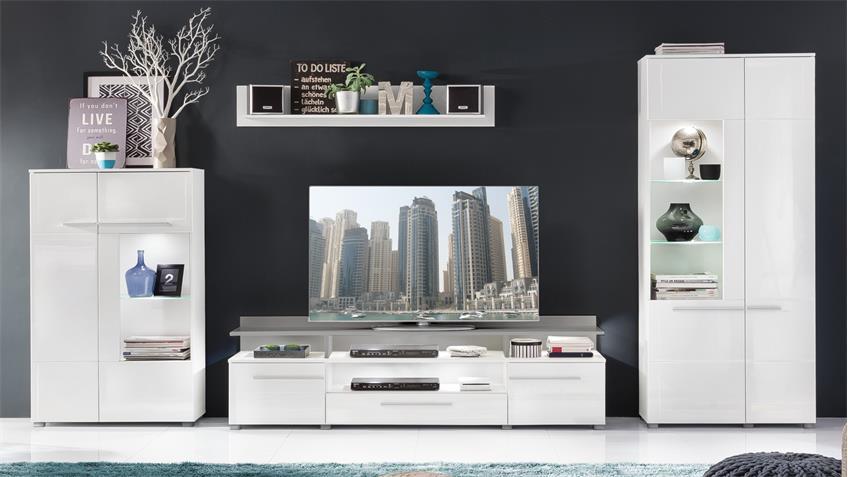 Wohnwand 2 VISION mit LED Anbauwand weiß Hochglanz