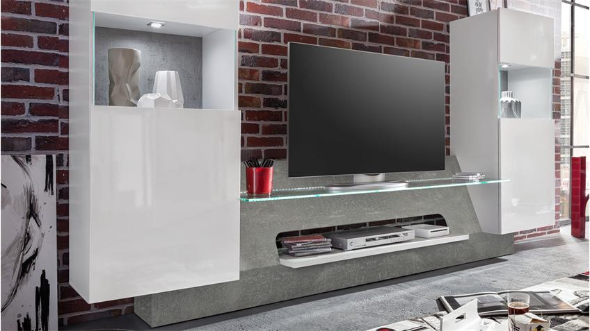 Mediawand AIR weiß Glanz und Beton grey inkl. LED