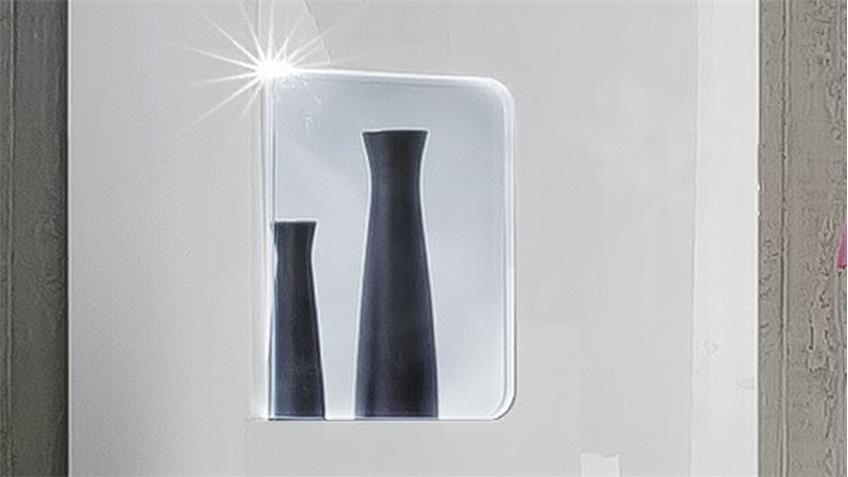 Hängevitrine LEO in weiß Hochglanz lackiert inkl. LED