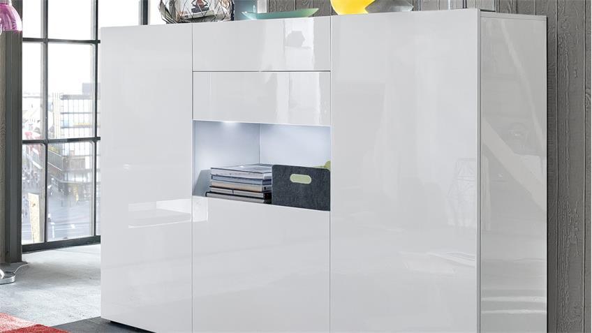 Highboard LEO in weiß Hochglanz lackiert