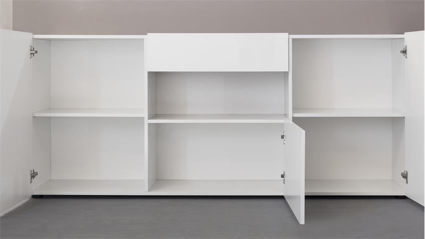 Sideboard LEO in weiß Hochglanz lackiert