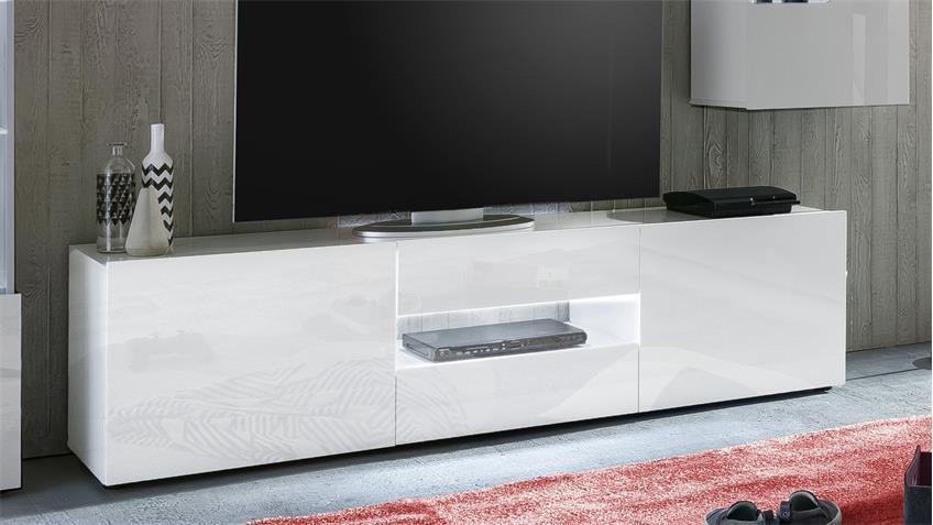TV-Board LEO Lowboard in weiß Hochglanz lackiert