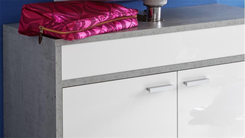 Waschbeckenunterschrank SPA weiß Glanz und Beton Industry