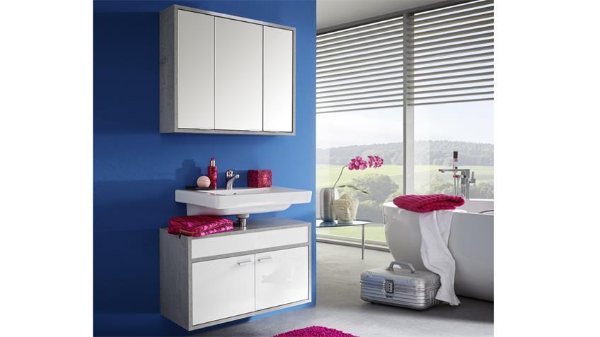 Badezimmer Set SPA weiß Glanz Beton Industry grau