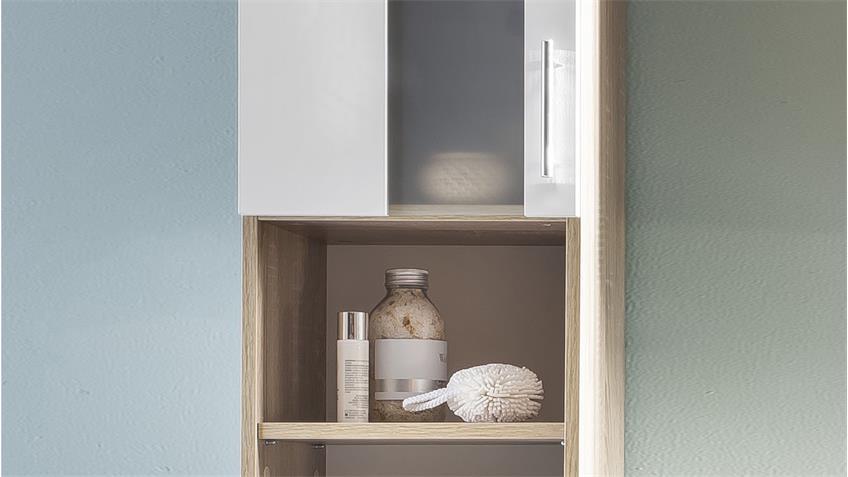 bad hochschrank porto in eiche s gerau und wei melamin. Black Bedroom Furniture Sets. Home Design Ideas
