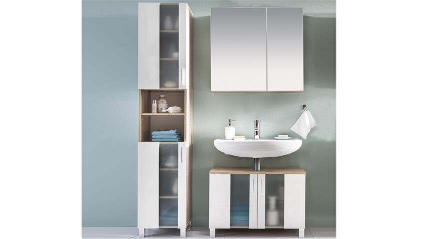 Badezimmer Set 2 PORTO in Eiche Sägerau und weiß Melamin