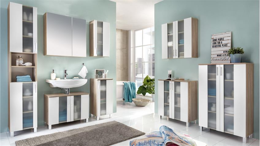 Badezimmer Set 3 PORTO in Eiche Sägerau und weiß Melamin