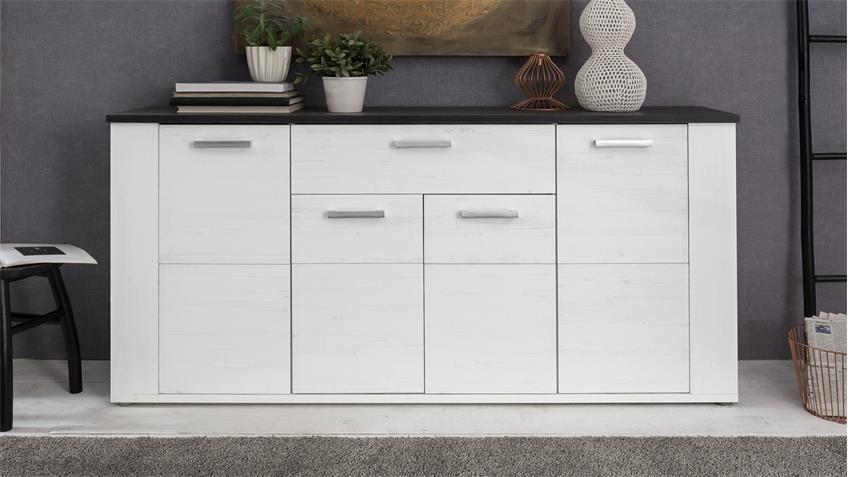 Sideboard DAKOTA Pinie weiß Struktur und Touchwood dunkelbraun