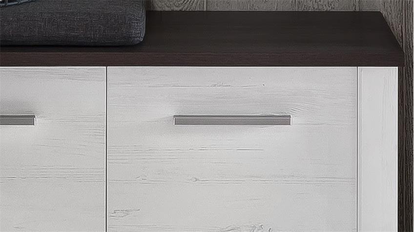 Sitzbank DAKOTA in Pinie weiß Struktur und Touchwood dunkelbraun