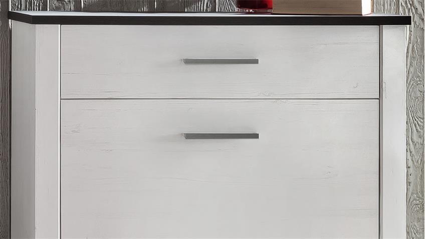 Schuhschrank DAKOTA in Pinie weiß Struktur Touchwood braun