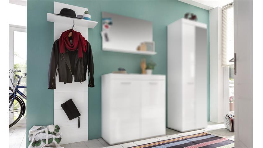 Garderobenpaneel 2 AMANDA Wandgarderobe in weiß Hochglanz