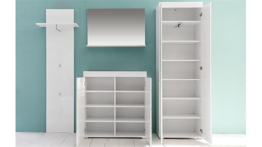 Garderobe Set 1 AMANDA in weiß Hochglanz tiefzieh
