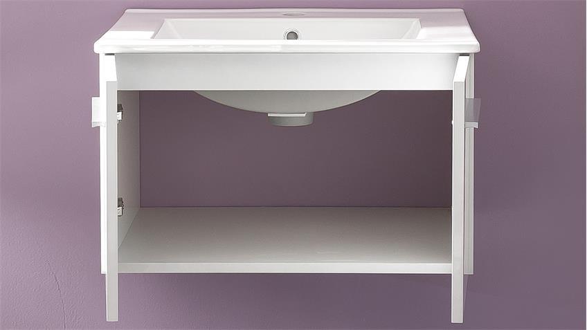 Waschbeckenunterschrank TTB-03 weiß Glanz mit Waschbecken