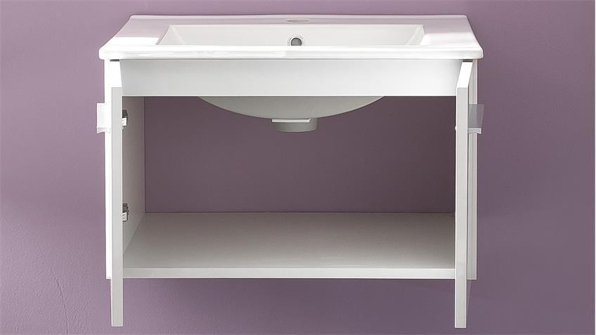 Badezimmer Set TTB-03 weiß Glanz 2-teilig mit Waschbecken