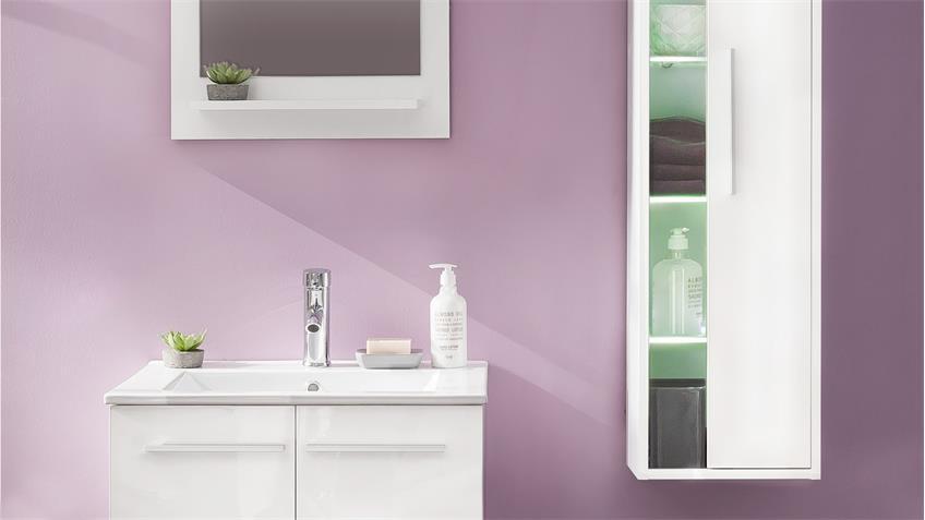 Badezimmer Set TTB-03 weiß Glanz 3-teilig mit Waschbecken