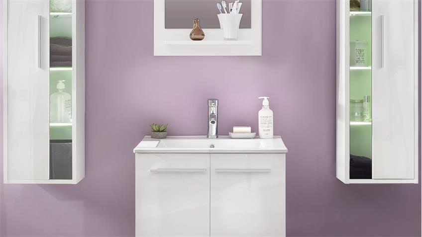 Badezimmer Set TTB-03 weiß Glanz mit Waschbecken 4-teilig