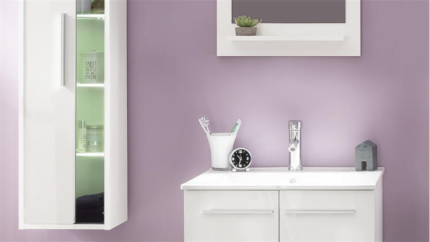 Badezimmer Set TTB-03 weiß Glanz 6-teilig mit Waschbecken