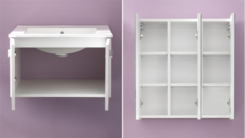 Badezimmer Set TTB-03 weiß Glanz mit Porzellan-Waschbecken