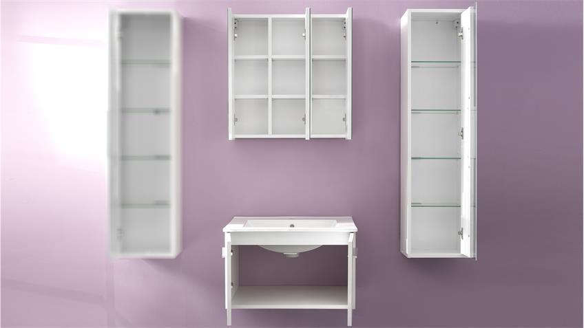 Badezimmer Set TTB-03 mit Waschbecken weiß Glanz 3-teilig