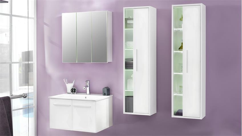 Badezimmer Set TTB-03 mit Waschbecken weiß Glanz 4-teilig