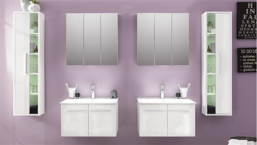 Badezimmer Set TTB-03 weiß Glanz mit Waschbecken 6-teilig