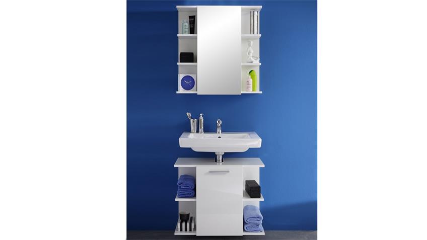 Bad Spiegelschrank KENY in weiß Hochglanz