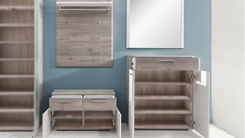 Garderobe Set 1 DUBLIN Nelson Eiche weiß Struktur Woodlook