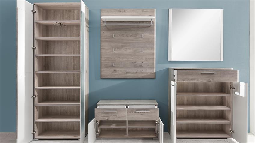 Garderobe Set 2 DUBLIN Nelson Eiche weiß Struktur Woodlook
