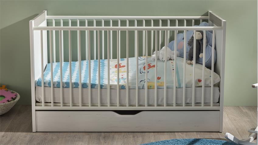 Babybett NILS Gitterbett in Pinie Struktur weiß