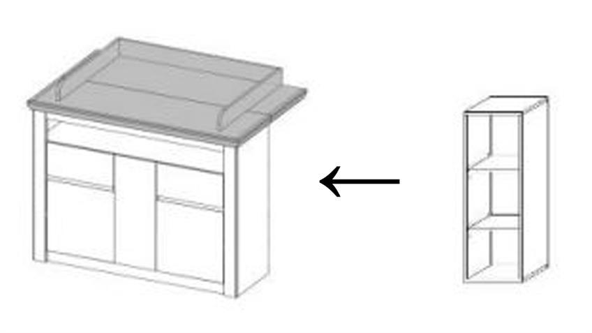 Regal NILS in Pinie Struktur weiß Zubehör für Wickelkommode