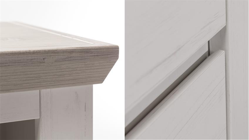Kleiderschrank NILS in Pinie Struktur weiß 6-türig