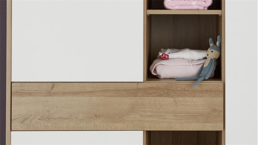 Kleiderschrank BASTOS in Eiche Riviera Honig weiß Babyzimmer