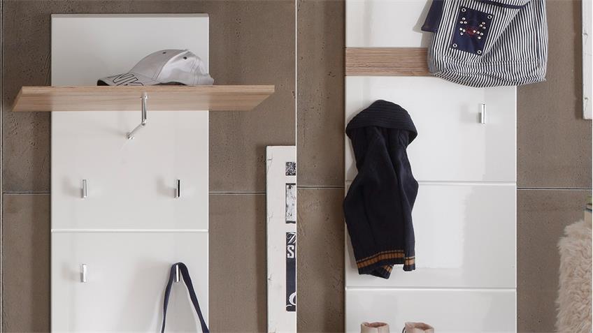 Garderobenset SETONE Garderobe in Eiche San Remo weiß Hochglanz