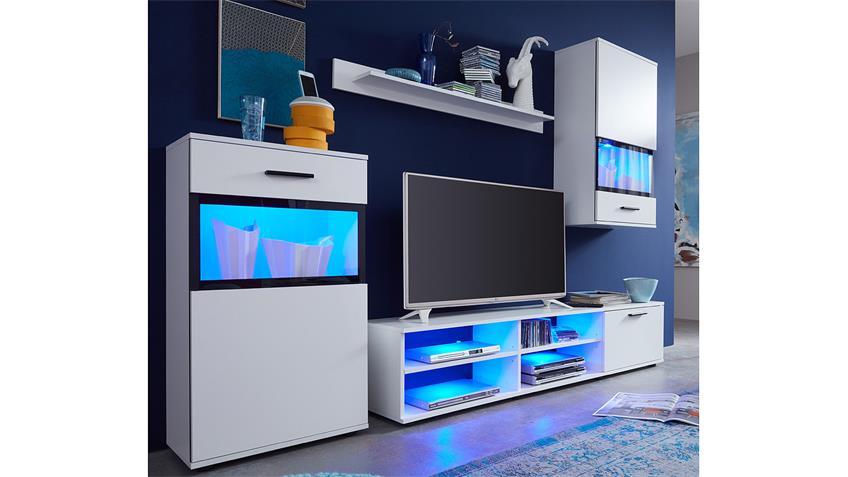 Wohnwand SWING weiß Wohnzimmerschränke Vitrinen mit Glasfront