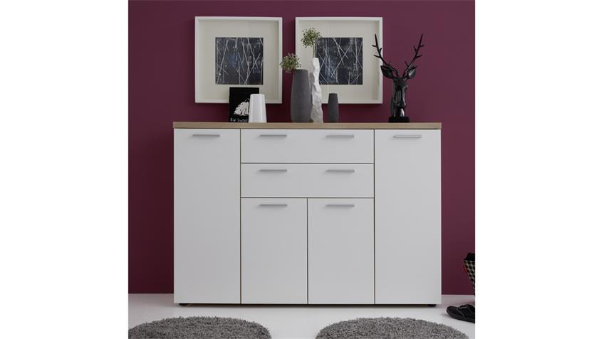 kommode bravos in eiche s gerau hell und wei mit 4 t ren. Black Bedroom Furniture Sets. Home Design Ideas