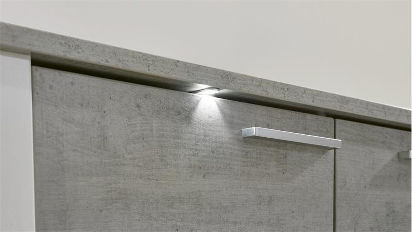 Sideboard Paris Schrank Kommode Anrichte weiß Beton Industry mit LED