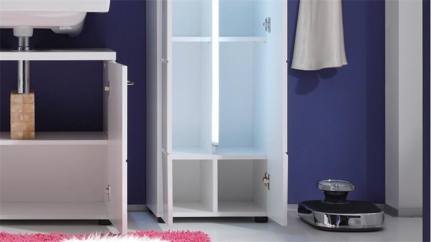 hochschrank nightlife bad in wei hochglanz tiefzieh inkl beleuchtung. Black Bedroom Furniture Sets. Home Design Ideas