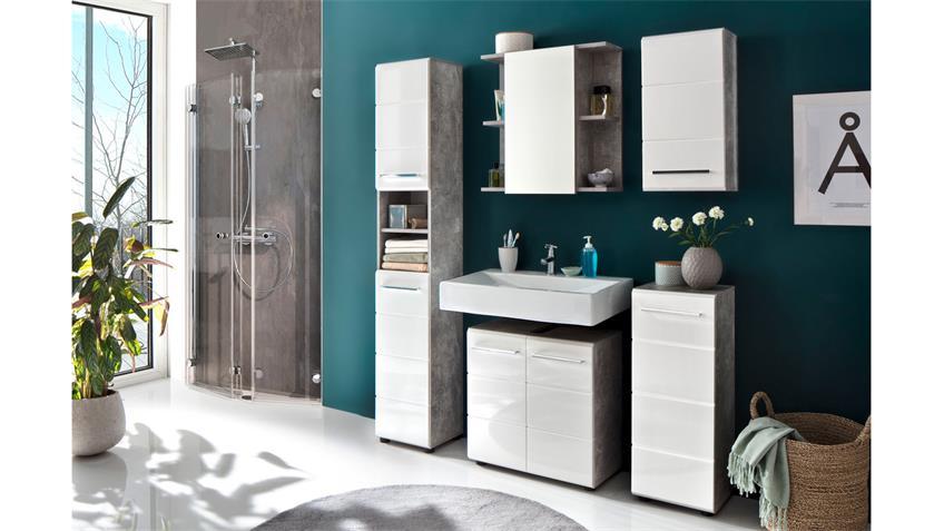 Badezimmer Set 1 NANO Badmöbel in Beton Stone und weiß Hochglanz