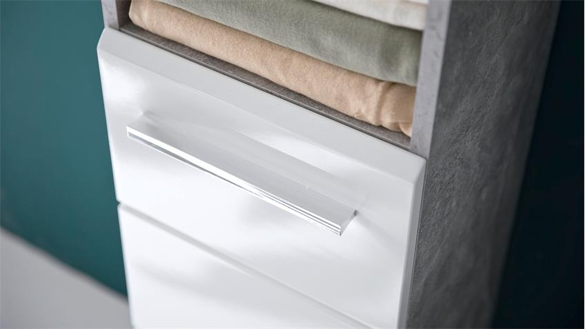 Badezimmer Set 2 NANO Badmöbel in Beton Stone und weiß Hochglanz