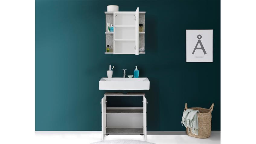 Badezimmer Set 3 NANO Badmöbel in Beton Stone und weiß Hochglanz