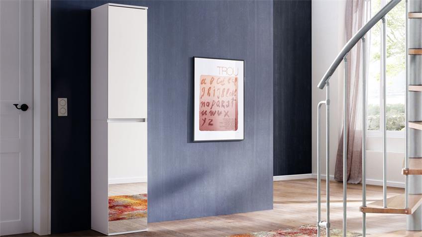 Spiegelschrank MIRROR in weiß Spiegel Schuhschrank 2-trg