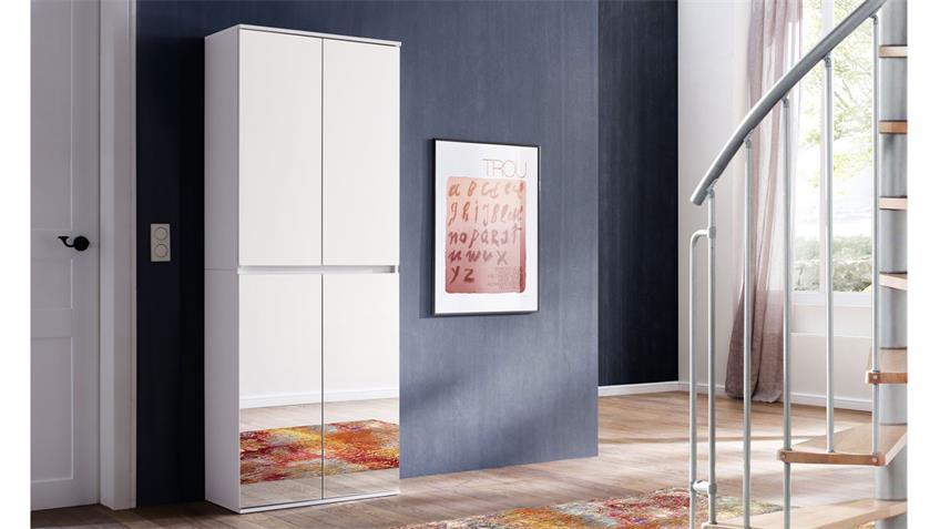 Garderobenschrank 4-trg weiß Spiegel Schuhschrank Mirror