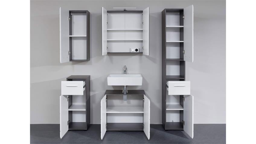 Badezimmer 5-tlg LINE mit Spiegel weiß Hochglanz rauchsilber