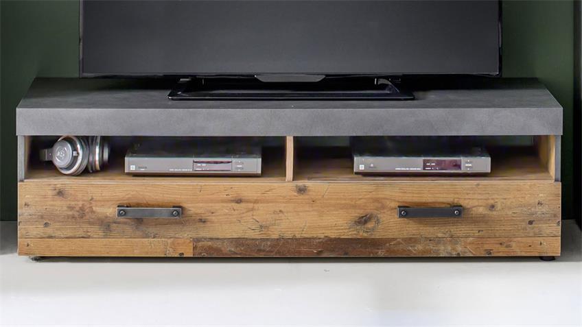 Wohnwand INDY Old Wood graphit grau Matera 4-tlg. mit LED