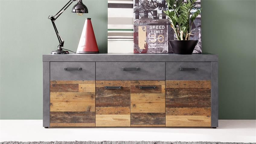 Sideboard INDY Kommode in Old Wood Graphit grau Matera